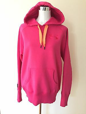 Women's Pink Under Armour Hooded Sweatshirt Jumper Size Medium Loose Fit