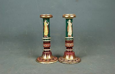 Pair Greek Revival Porcelain Candlesticks Candle Holders JSH Hill Pottery & Co