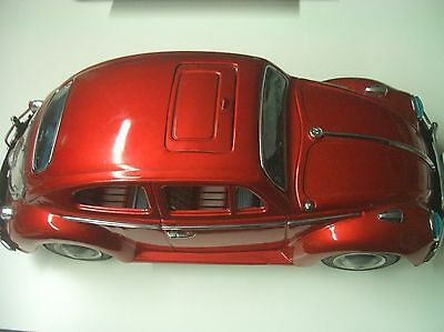 """Vintage Bandai Volkswagen Bug """"B"""" Sign of Quality Made in Japan Tin Toy Car"""
