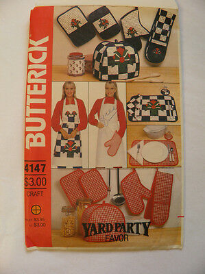Vintage Butterick 4147 Kitchen Accessories Sewing Pattern - New