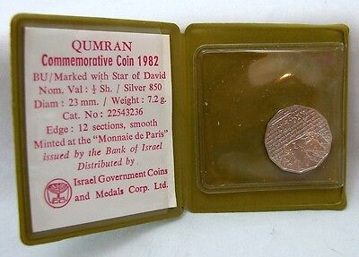 Rare 1982 Israel Qumran Caves 1/2 Sheqalim Silver Proof Cased Coa Low Mintage
