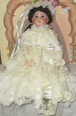 "25"" Antique Reproduction Porcelain Jumeau Bride Doll"