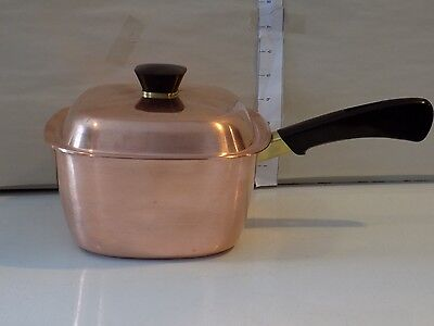 VINTAGE BRIDGEPORT COPPER & STAINLESS STEEL 2qt / 8 CUP SAUCE PAN WITH LID