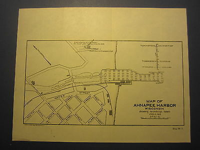 Old Antique 1903 MAP - AHNAPEE HARBOR - WISCONSIN - U.S. Army Corp Engineers