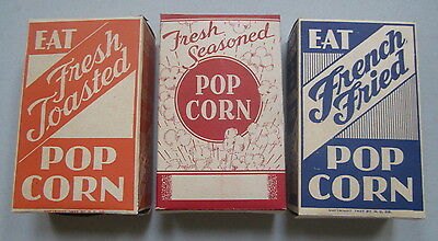 Set of 3 Old Vintage 1930's POPCORN Boxes - Fresh Toasted - Seasoned - Fried