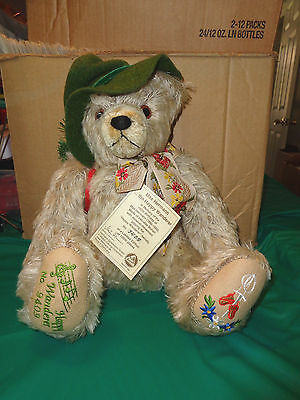 "1999 Max Hermann ""The Happy Wanderer"" German Musical Mohair Bear #9409 of 13,000"