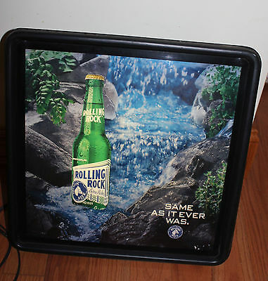 ROLLING ROCK  Beer Bar Pub Lighted  Rolling Water Motion Moving Sign 1995