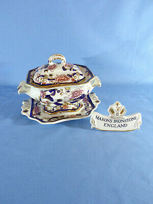 Masons Ironstone Blue Mandalay Pattern Bedford Sauce Tureen Underplate