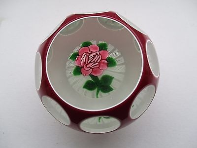 John Deacon Faceted Flower Paperweight - Signed Jhd 1996 To Base