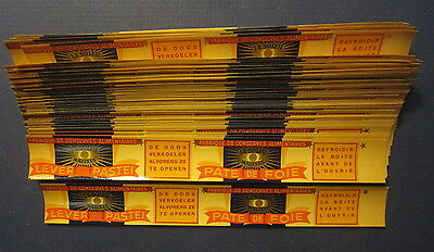 """Wholesale Lot of 100 Old Vintage 1930's - LIVER PATE - CAN LABELS - 1"""" x 7 1/2"""""""