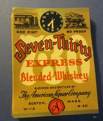 Wholesale lot of 100 Old 1930's - Seven-Thirty Express TRAIN - WHISKEY LABELS