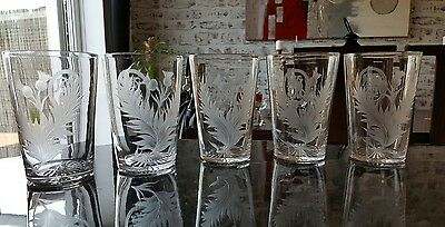 Set of 5 Victorian Edwardian Webb Cut Glass water thistle Glasses c1900. 826