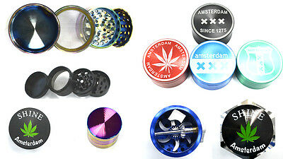 Shine Tobacco Grinder 4/3/2 Part Dry Herbs Spice Metal Mini Pollen Catcher Rolls