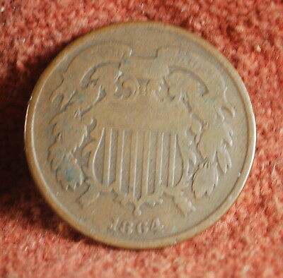 1864 Very Good US American Copper Two Cent Piece (First Year of Issue)