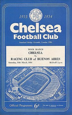 CHELSEA v Racing Club of Buenos Aires (Friendly) 1953/4