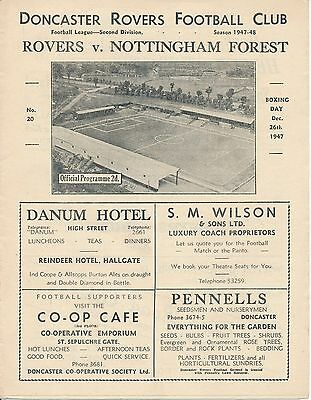 DONCASTER v Nottingham Forest 1947/8 Football Programme
