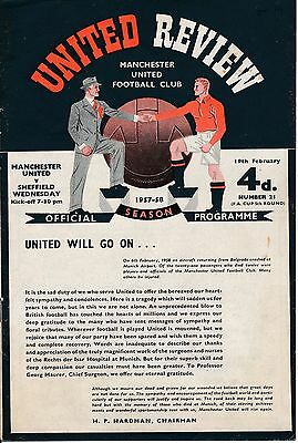MAN UTD v Sheffield Wednesday (FA Cup) 1958 - 'United will go on' programme