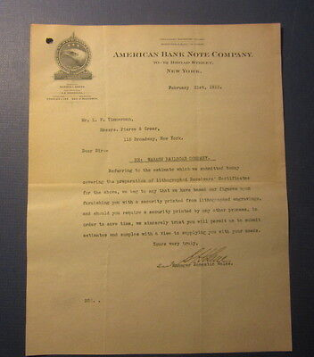 Old Vintage 1912 - AMERICAN BANK NOTE Co. Letterhead - re: Wabash Certificates