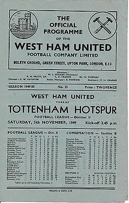 WEST HAM v Tottenham 1949/50 - Football Programme