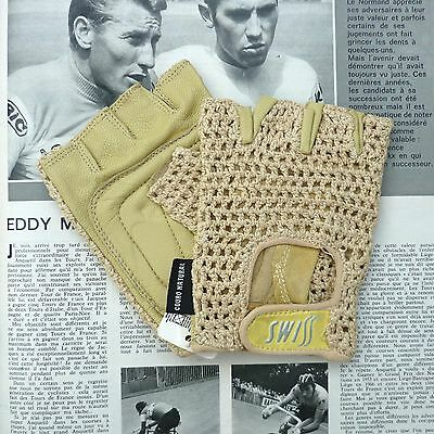 Superb Vintage 'SWISS' Natural Colour Cycling Gloves with Crochet Cotton Back
