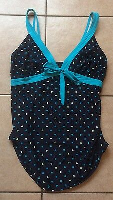 Mothercare M2B Navy Blue Spotty Maternity Tankini Top - Size 12