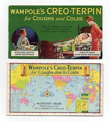 "2 WAMPOLE'S CREO-TERPIN Unused Blotters - 1930's, ""For Coughs & Colds"", Exc Cond"