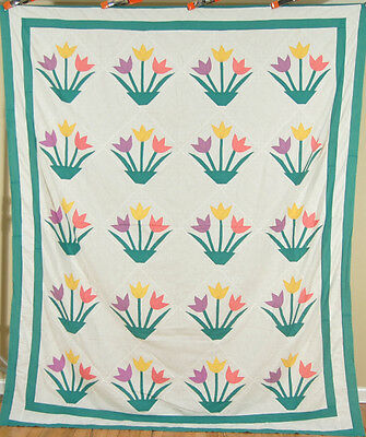 Large BEAUTIFUL Vintage Tulip Basket Applique Antique Quilt Top ~COLORFUL!