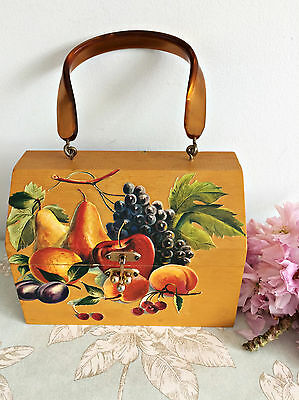 RARE Vintage 50s Fruit Decoupage Wooden Box Bag Handbag Lucite Handle Summer