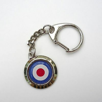 Retro Style, MOD, Great Britain Roundel, Lambretta, Vespa, Chrome Keyring, Chain