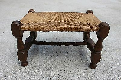 Small Flemish Vintage Wooden Wicker Straw Stool Chair
