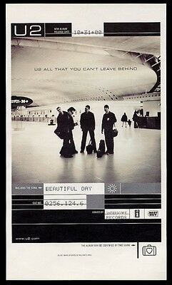 2000 U2 band photo Beautiful Day song release print ad