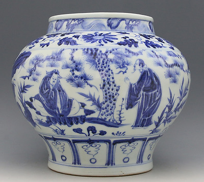 Chinese old hand engraving porcelain Blue and White Officials enjoy flower jar