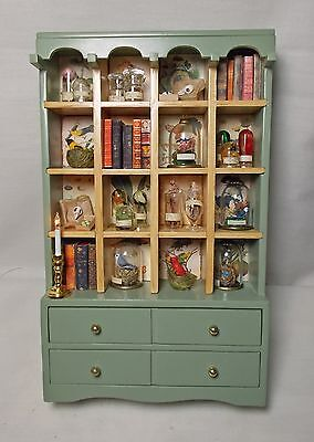 Dolls house miniature Large Green Cabinet Victorian Collector's Display.