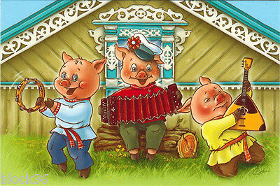 WELCOME TO OUR PLACE! Three piglets play music Modern Russian card