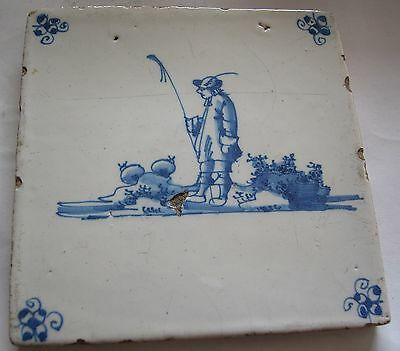 A Blue And White Antique 17Th-18Th Century Dutch Tile