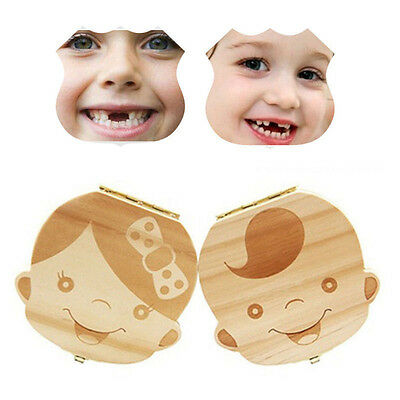 Kids Tooth Box Organizer Baby Save Milk Teeth Wood Storage Box For Boy&Girl