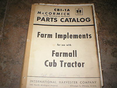 McCormick Farm Implements Parts Catalog for Farmall Cub Tractor