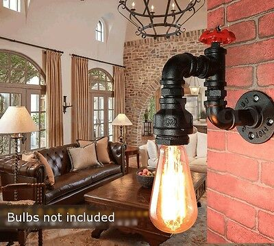 Vintage Industrial Style Iron Water Pipe Porch Wall Light Lamp Loft Fixture New