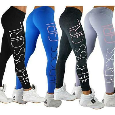 Womens Fitness Yoga Leggings Stretchy Gym Running Sports Pants Slim Trousers LG