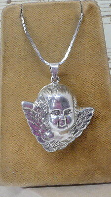 "Vintage Estate Puffed Angel Head Pendant, Repousse"" 12 gr. NICE"