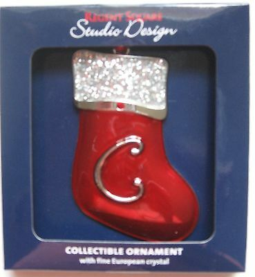 Regent Square Red Stocking Christmas Ornament Monogram Letter C Initial New MIP