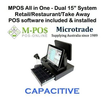 "15"" CAPACITIVE POS Terminal, with MPOS Retail Point of Sale Software, COMPLETE"