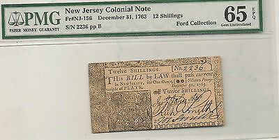 1763 New Jersey Colonial Note 12 Shillings  : PMG 65 EPQ  Ford Collection
