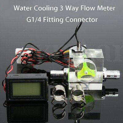 Water Liquid Cooling 3 Way Flow Meter With Thermometer LED G1/4 Cooler System