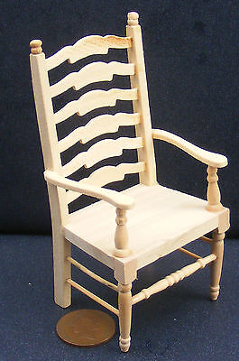 1:12 Scale Natural Finish Ladder Back Carver Chair Dolls House Miniature 105