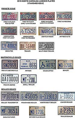 2016 North Carolina NC License Plate Tags Book - 13 Pages of Almost 400 Images