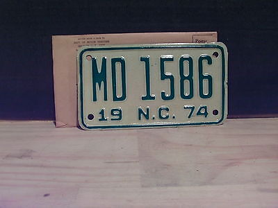 1974 North Carolina NC Motorcycle Dealer License Plate Tag #MD-1586 Mint!