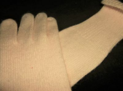 Ladies Lovely Soft Angora ? Fine Knit Palest Baby Pink Gloves Long Cuff