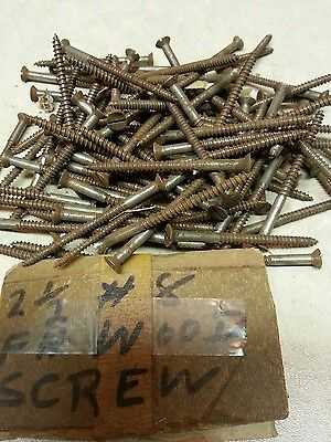 "Vintage Wood SCREWS 2 1/2"" by #8 Flat Head Wood Screws, Woodworking"