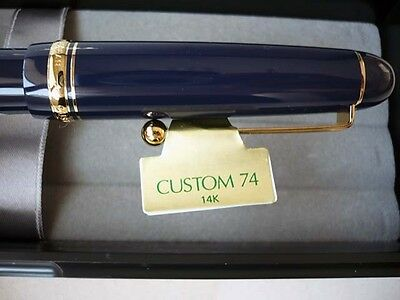 [Broad nib] Pilot NAMIKI Custom 74 Fountain Pen Dark Blue #5 14K Brand New Japan